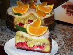 Апельсиновый торт с желейной прослойкой