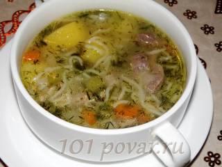 Вермишелевый суп с куриными желудками