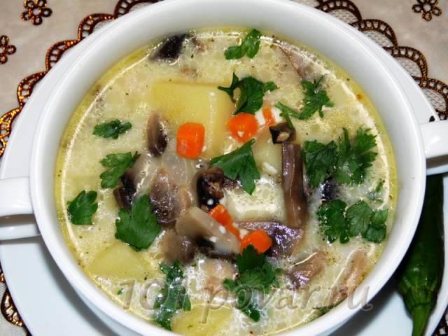 Сырный суп из плавленных сырков с шампиньонами